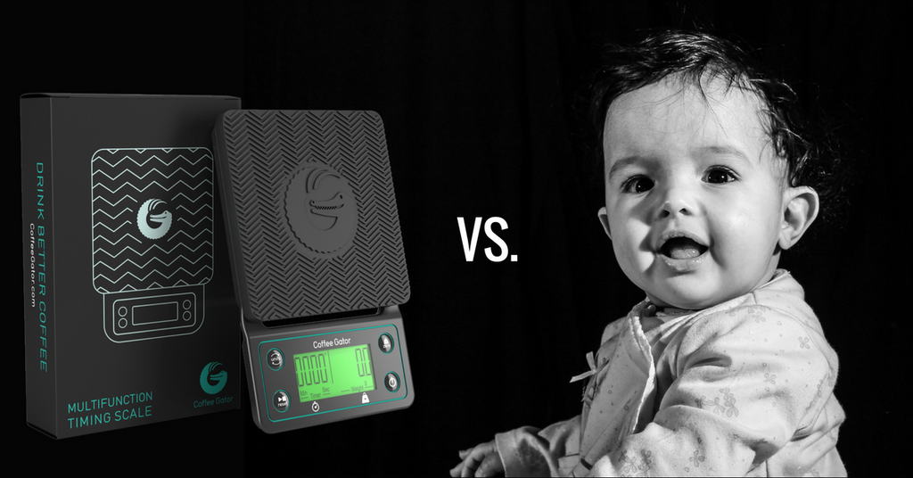 New Coffee Gator multifunction scales vs human baby