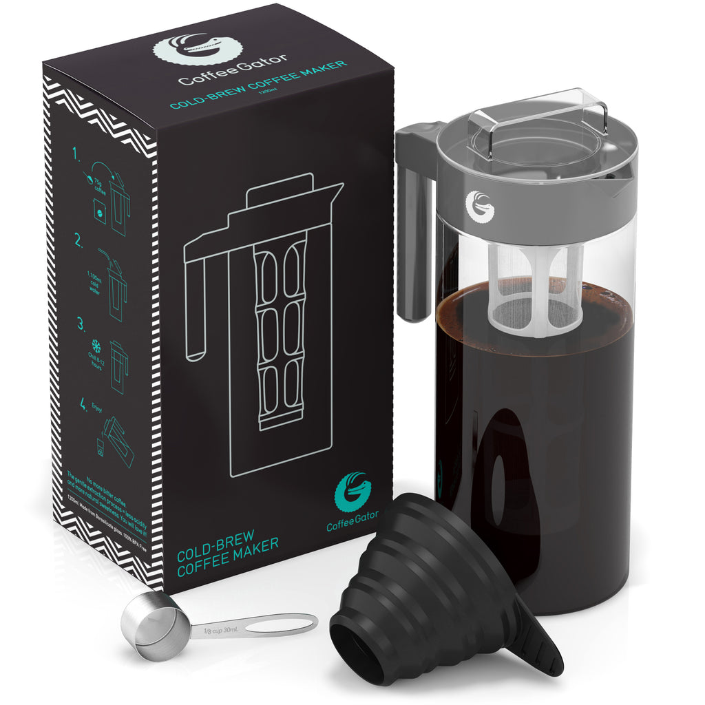 Cold Brew Coffee Maker with Scoop and Funnel - 47floz/1.4l - Gray - Coffee Gator