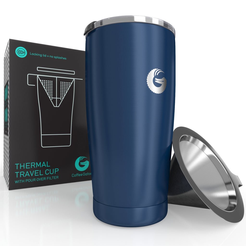 Thermal Pour Over Coffee Brewer Travel Mug - 17floz / 500ml - Blue - Coffee Gator