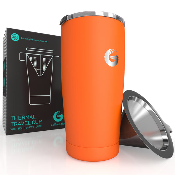 Thermal Pour Over Coffee Brewer Travel Mug - 17floz / 500ml - Orange - Coffee Gator