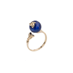 Open Gold Lapis Ring