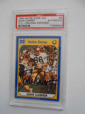 Dave Casper signed Notre Dame football card certified PSA/DNA