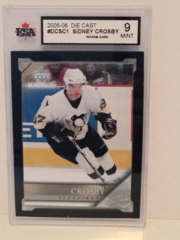 Sidney Crosby UD die cast NHL rookie card graded 9