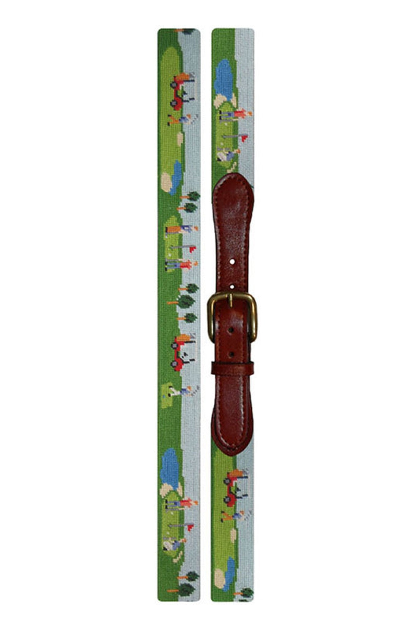 golf course scene needle point belt