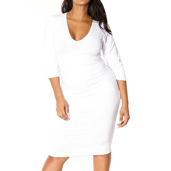 Curvy Perfect White Midi Dress