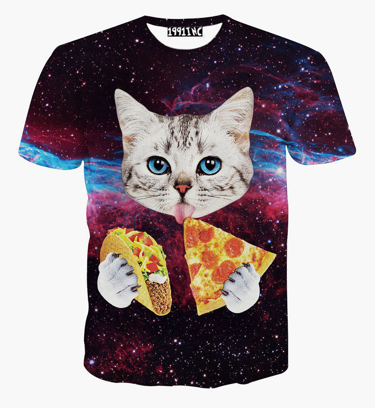 Cute Cat With Blue Eyes Eating Tacos Pizza In Space Galaxy