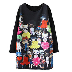 Miss Cat Women Long Sleeve Loose Dress