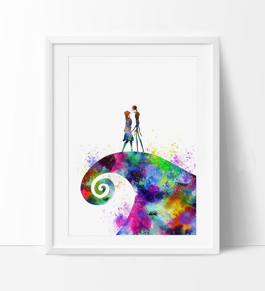 The Nightmare Before Christmas, Print, Watercolor, Poster, Illustration, Wall Art, Halloween, Halloween Decor, Jack Skellington, Sally (173)