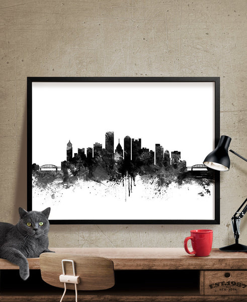 Pittsburgh Skyline Watercolor Print, Pittsburgh Cityscape Art Print, Watercolor Skyline Black & White (217)