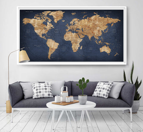 World map push pin, Large world map, Abstract World Map, Travel Gift, Wall Decor Wanderlust Worldmap poster print, decorative push pins (L2)