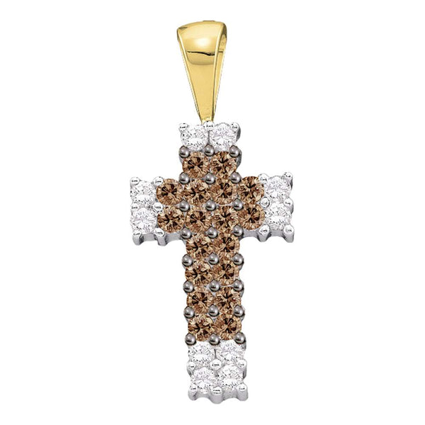14kt Yellow Gold Womens Round Cognac-brown Color Enhanced Diamond Cross Religious Pendant 1/4 Cttw