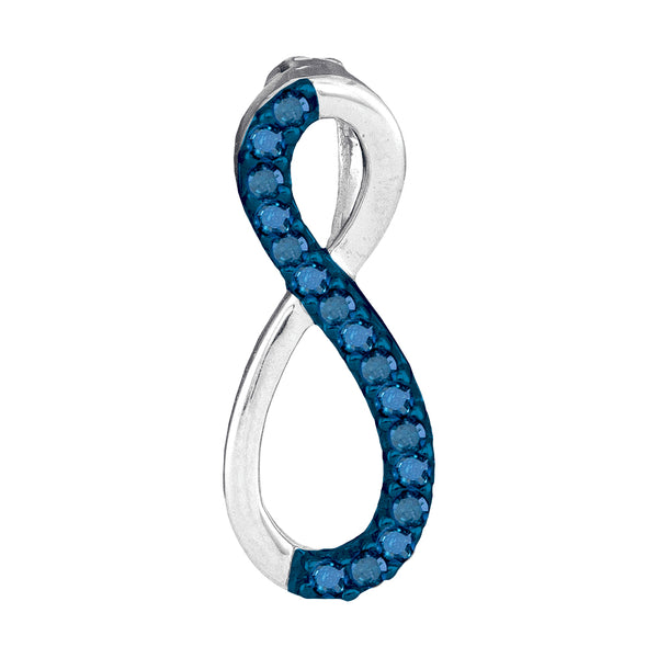 10kt White Gold Womens Round Blue Color Enhanced Diamond Vertical Infinity Love Pendant 1/10 Cttw