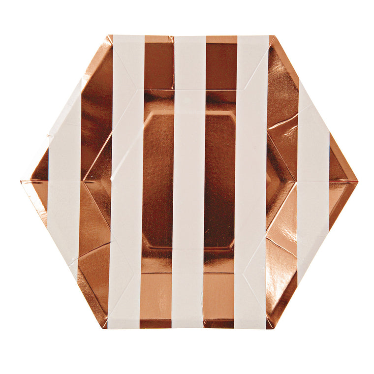 Rose Gold Large Striped 8 Plates