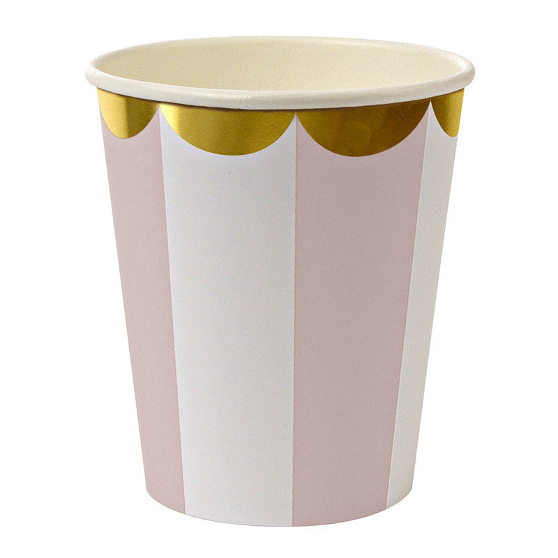 Dusty Pink Striped 8 Cups