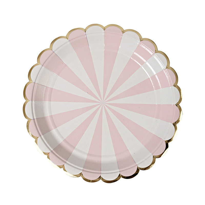 Dusty Pink Striped Small 8 Plates