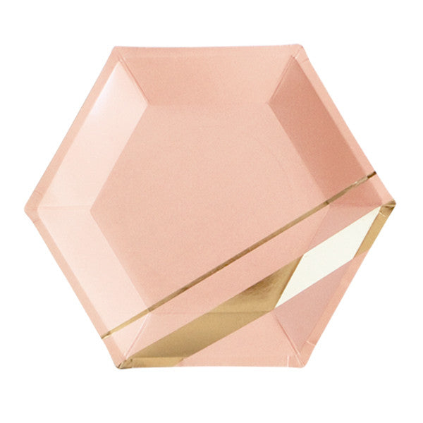 Blush Hexagon 8 Large Party Plates