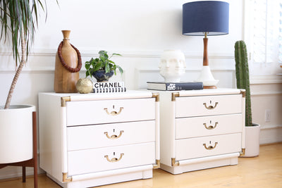 Drexel Campaign White Nightstands - A Pair No 674 - ShopGoldenPineapple
