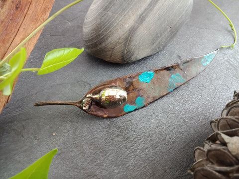 Gum Leaf and Gum Nut Brooch - Green/Blue Copper Patina - Cat No 1156