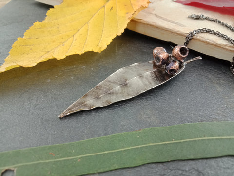 Gum Leaf and Gum Nut Pendant - Antique Nickel - Cat No 1176