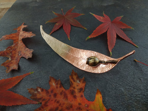 Gum Leaf and Gum Nut Brooch - Bright Copper/Brass - Cat No 1177