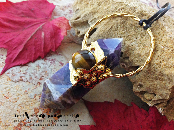 Amethyst Double Point Pendant - Gold - Cat No 232 - Leaf Seed Pod Shell - 2