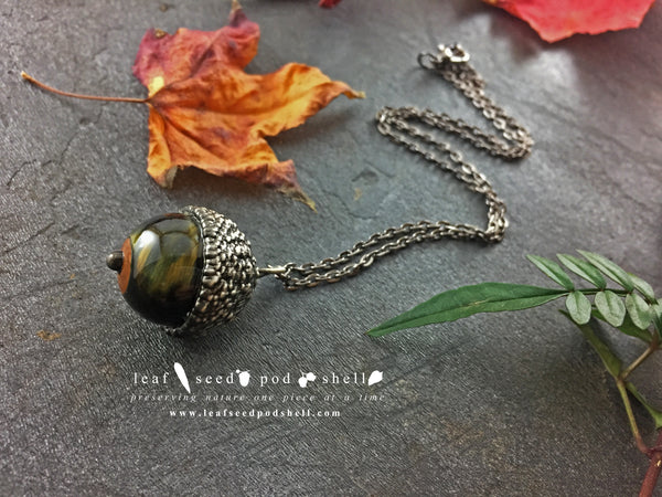 Blue Tigers Eye Acorn Pendant - Antique Silver - Cat No 829