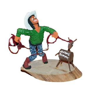 Koshare Rodeo Wood Carving : Virgil Wood - Getzwiller's Nizhoni Ranch Gallery