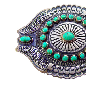 Native American Jewelry: Navajo : Turquoise and Silver Belt Buckle : DB - Getzwiller's Nizhoni Ranch Gallery