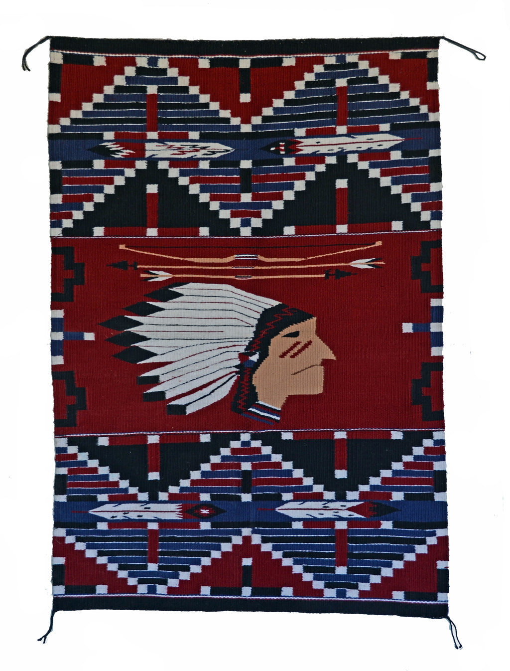 Indian Chief Pictorial Navajo Weaving : Lusandra Williams : 3349 - Getzwiller's Nizhoni Ranch Gallery