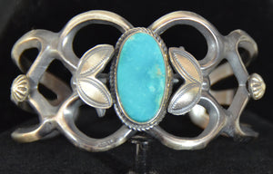 Native American Jewelry : Sterling Silver with Turquoise Bracelet : Navajo : Henry Morgan : NAJ-60 - Getzwiller's Nizhoni Ranch Gallery