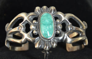 Native American Jewelry : Sterling Silver with Turquoise Bracelet : Navajo : Harrison Bitsue : NAJ-61 - Getzwiller's Nizhoni Ranch Gallery
