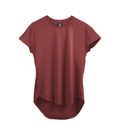 Scoop Shoulder Hem Tee Marsala