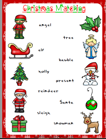 Christmas Matching Worksheet  | Free - Download