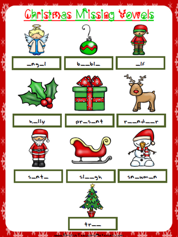 Christmas Missing Vowels Worksheet | Free - Download