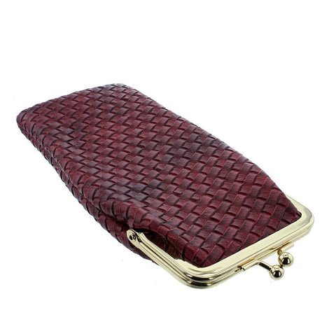 Vintage Style Woven Leatherette Purse Glasses Case - Metallic Burgundy