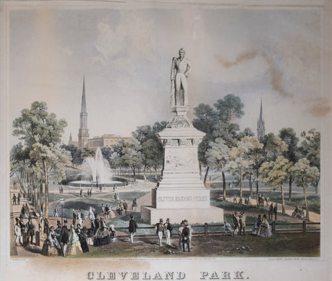 Sarony, Major and Knapp, Lithographers, Cleveland Park. (Statue of Oliver Hazard Perry in foreground)