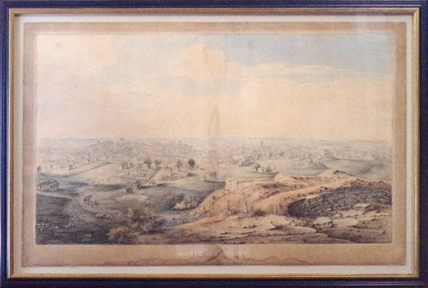19th Century Watercolor View of Nashville, Tennessee