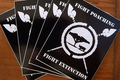 """Fight Poaching, Fight Extinction"" sticker 5 pack."