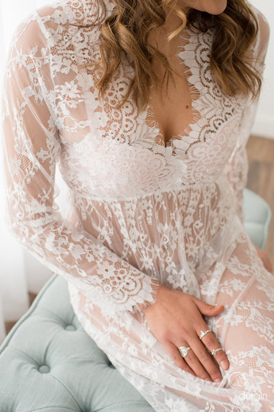 """SARAH"" LACE DRESS IN OFF WHITE"