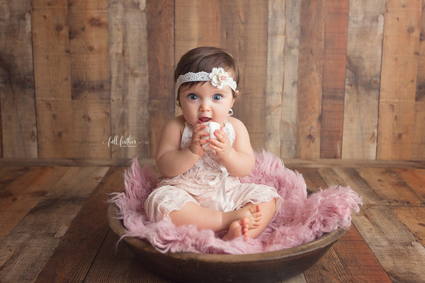 ROMPER / BONNET / HEADBAND / baby sitter set: 6M, 12M, blush ruffle fabric, 6 month romper set headband, bonnet, baby photography, prop