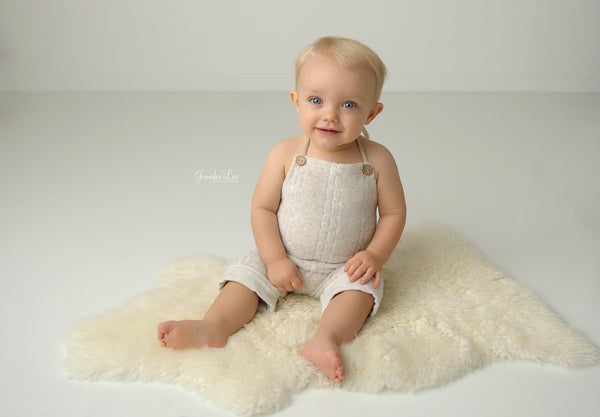 BABY ROMPER: 6M, 12M, terry knit romper, baby stretch romper, baby photo prop, lt. taupe knit,  handmade, photography prop, toddler photo
