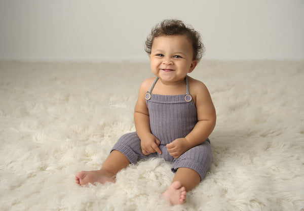 BABY ROMPER: 6M, 12M, blue gray knit romper, baby stretch romper, baby photo prop, stretch knit fabric, handmade, photography prop, toddler