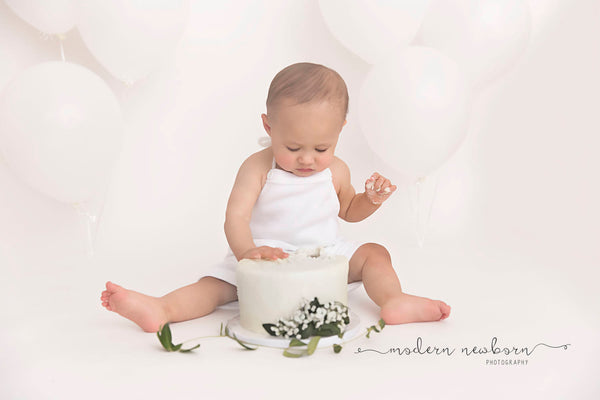 BABY ROMPER SITTER: 6 month boy romper, 12 month sitter, white fleece, romper, baby photography, baby cake smash, boy photo prop, handmade
