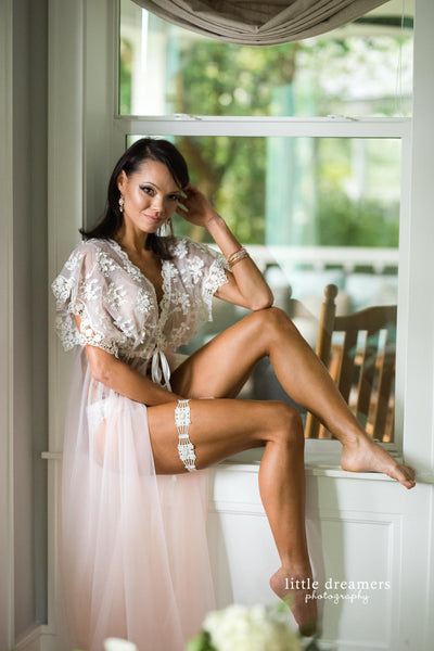 BRIDAL BOUDOIR ROBE - floor length wedding day gown for photo shoot - lingerie - off white embroidered lace - tulle - one-size sheer boho