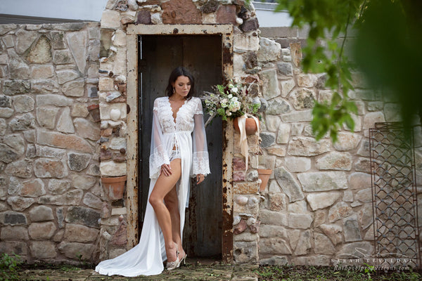BRIDAL BOUDOIR ROBE with train, wedding day gown for photo shoot, bridal boudoir lingerie, off white one-size lace trimmed bridal robe dress