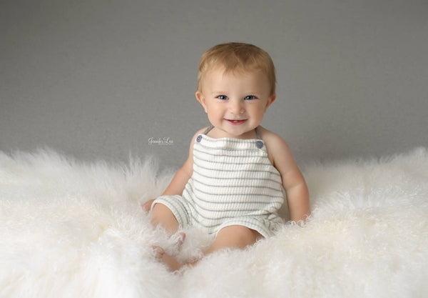 BABY ROMPER: 6M, 12M, stretch knit romper, baby romper, cake smash, baby photo prop, white grey stripes, handmade, photography prop, toddler