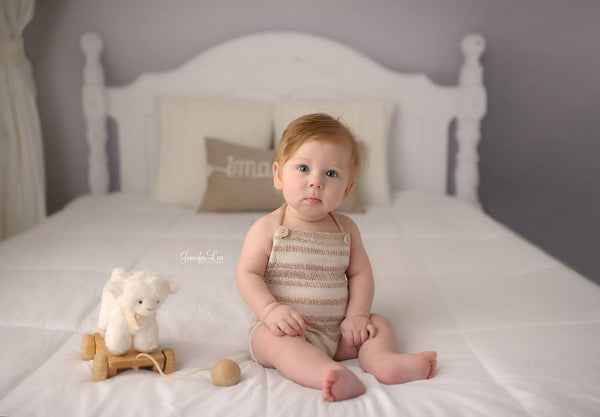 BABY ROMPER: 6M, 12M, tan striped romper, baby stretch romper, baby photo prop, stretch knit fabric, handmade, photography prop, toddler