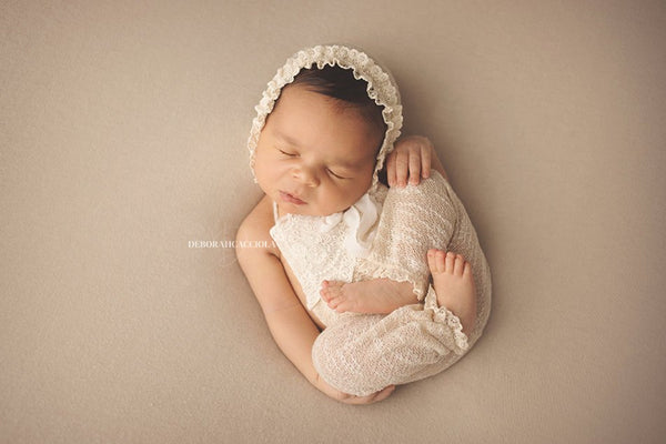 HANDMADE NEWBORN ROMPER baby photo prop, vintage knit shorts, stretch knit baby bonnet, headband newborn baby photo prop, girl photography