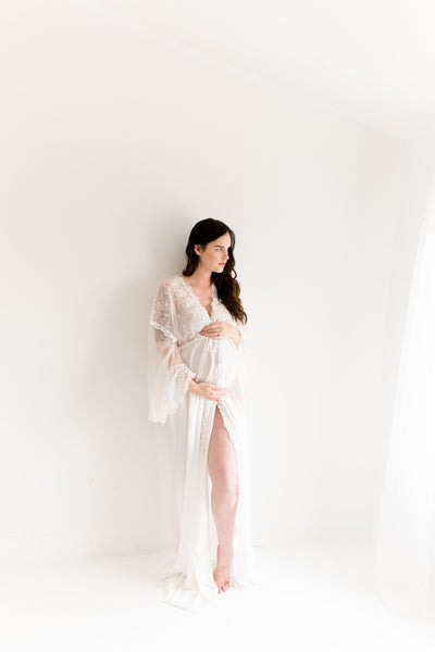 MATERNITY ROBE for maternity photo shoot, boudoir photo shoot, maternity lingerie, off white bridal robe, honeymoon lingerie, shower gift