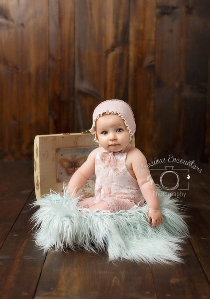 ROMPER / BONNET / HEADBAND: 6 month, 12 month, dusty pink, sitter set, for photo shoot, cake smash, bonnet, romper, photography, photo prop